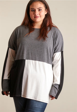 Plus Charcoal Colorblock Blouse