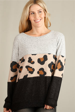 Taupe Animal 2 Tone Colorblock Sweater