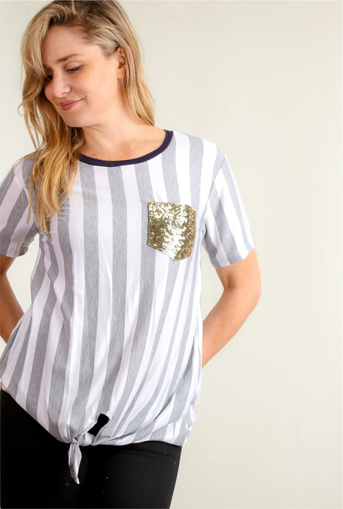 Stripe Navy Sequins Pocket Blouse
