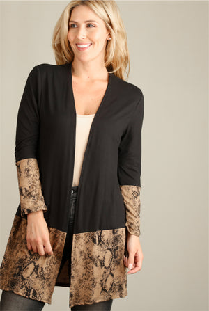 Mocha & Black Snake Colorblock Cardigan