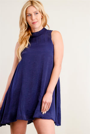 Navy Shimmery Lined Dress