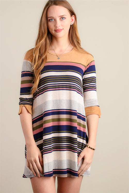 Navy Stripe Design Dress