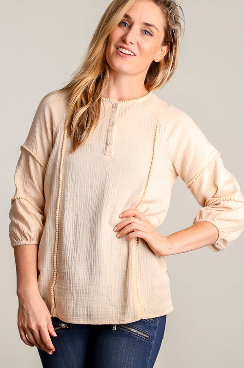 Taupe Embellished Henley Blouse