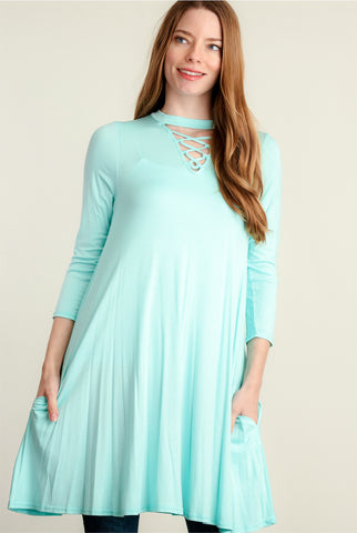 Aqua Panel Design Pocketed Dress