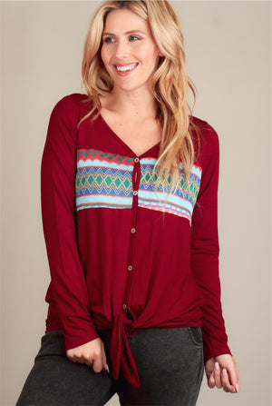 Burgundy Embroidered Tie Hem Blouse