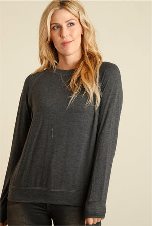Charcoal Grey Solid Sweater