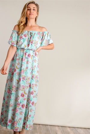 Mint Off Shoulder Floral Maxi Dress