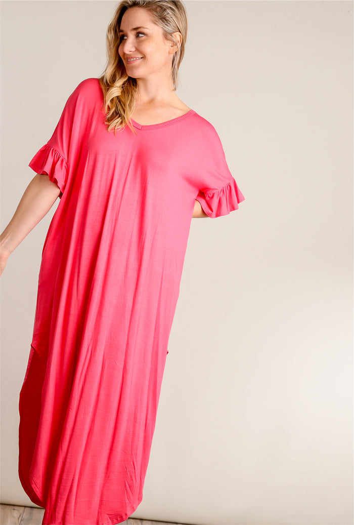 Coral Ruffle Sleeve Maxi Dress