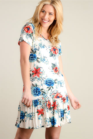 Baby Blue Floral Criss Cross Front Tunic