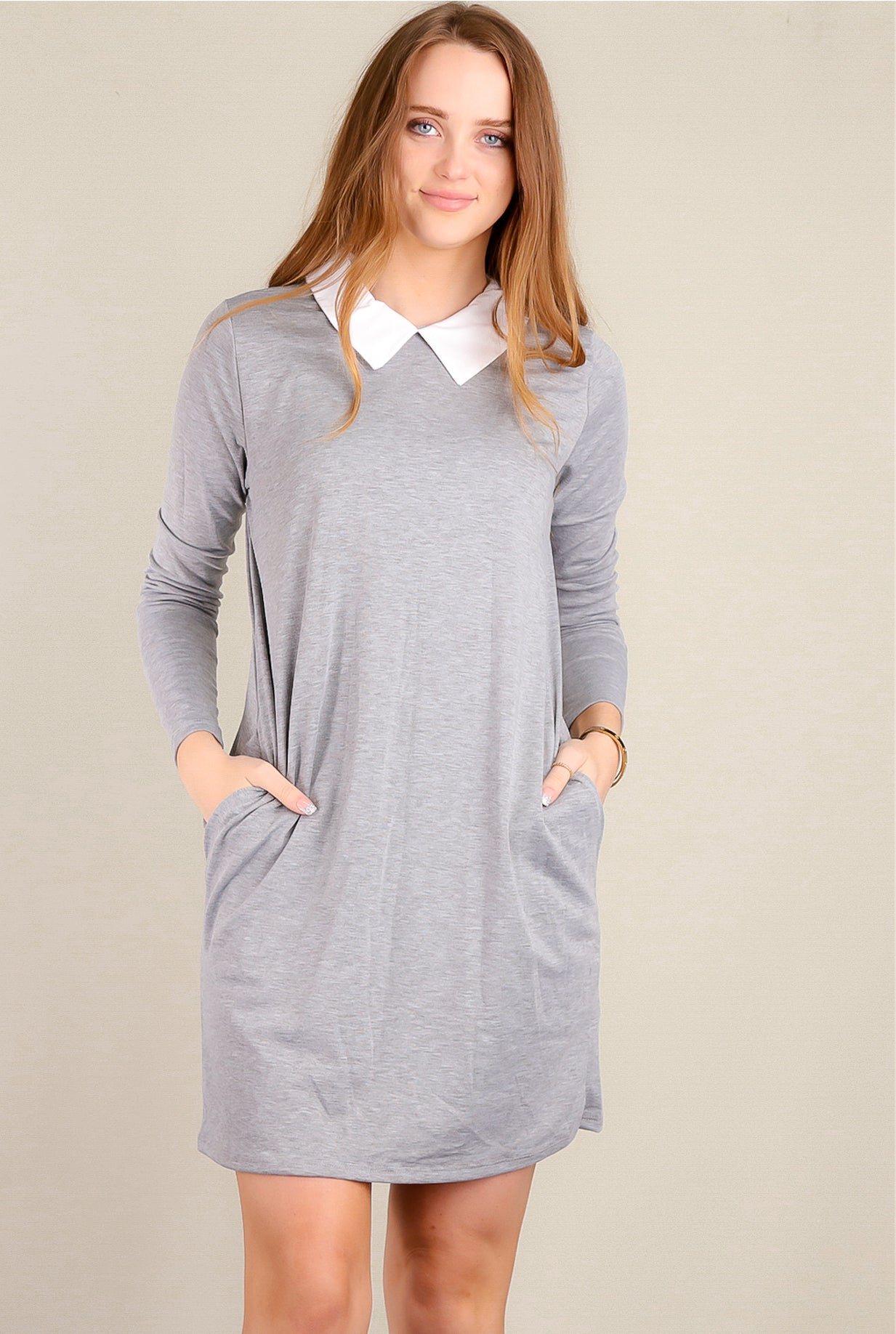 Grey Pocketed Collared Dress