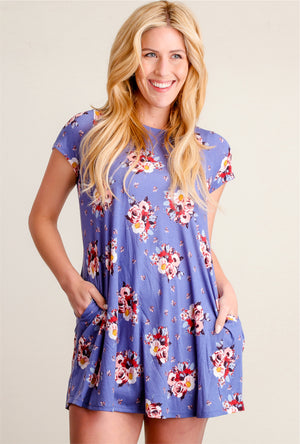 Off Blue Floral Dress