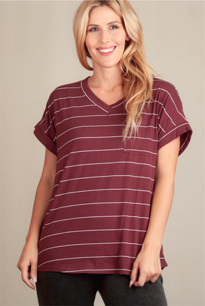 Maroon & Ivory Stripe Pocket Blouse