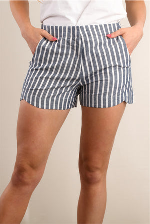Denim Stripe Pocketed Shorts