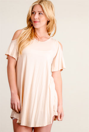 Taupe Cold Shoulder Dress