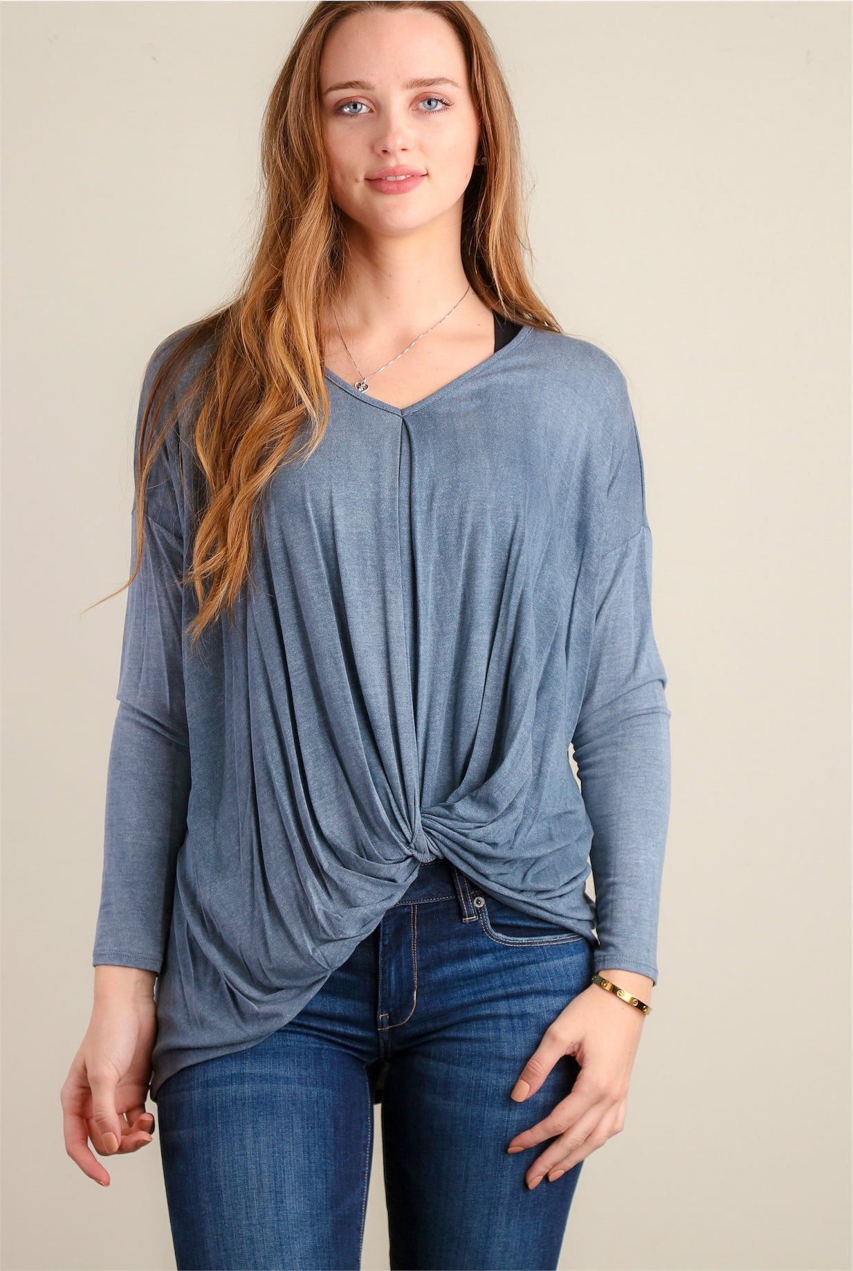 Washed Knot Front Blouse