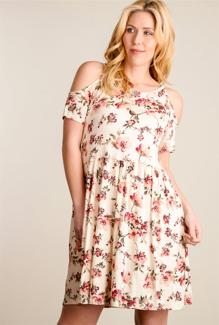 Oatmeal & Pink Floral Cold Shoulder Dress