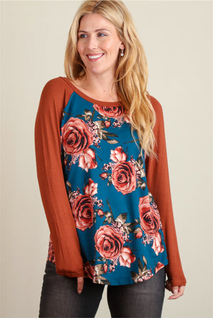 Rust Orange & Blue Floral Blouse