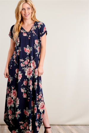 Navy Floral Pocketed Maxi Dress