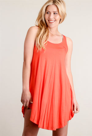 Coral Soft Tunic Dress