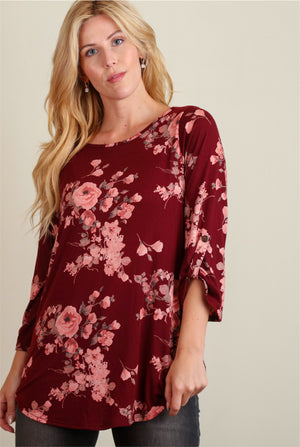 Maroon Floral Long Sleeve Blouse