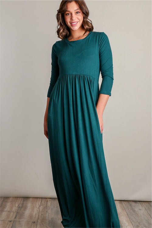 Teal Pocketed Fit & Flare Maxi Dress