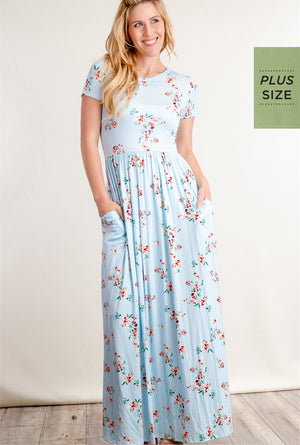 Plus Blue Floral Vertical Stripe Fit and Flare Pocketed Maxi Dress