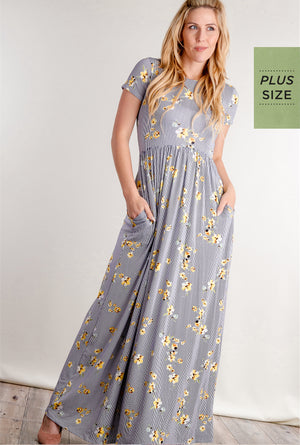 Plus Navy Floral Vertical Stripe Fit and Flare Pocketed Maxi Dress