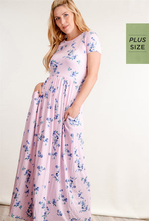 Plus Pink Vertical Stripe Floral Fit & Flare Pocketed Maxi Dress