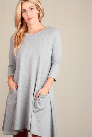Grey Pocketed Solid Dress