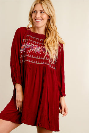Burgundy Floral Embroidered Crochet Dress