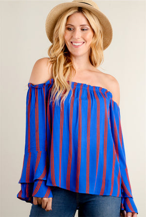 Royal Blue & Orange Off Shoulder Top