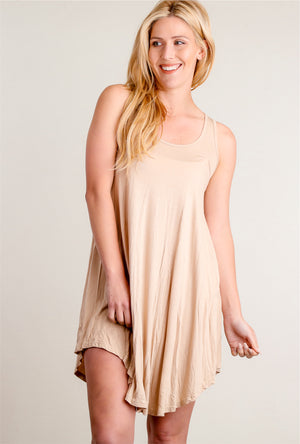 Taupe Solid Soft Tunic Dress