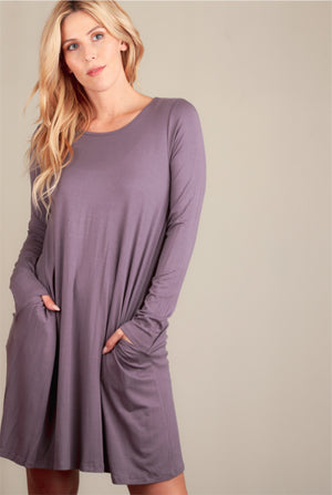 Purple Solid Pocketed Dress (5 pcs)