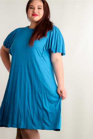 Plus Teal Blue Bell Sleeve Cross Back Dress