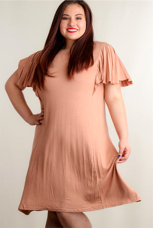 Plus Nude Bell Sleeve Cross Back Dress