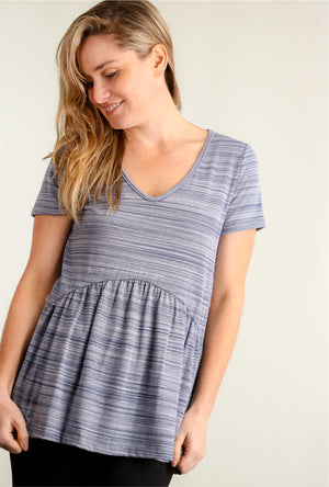 Denim Stripe Babydoll Blouse