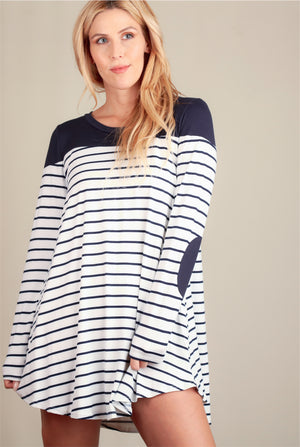 Navy Stripe Elbow Patch Dress