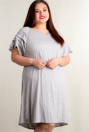 Plus Grey Bell Sleeve Dress