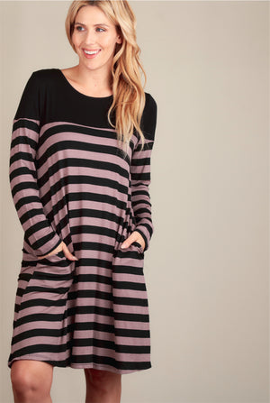 Mocha & Black Stripe Pocket Dress
