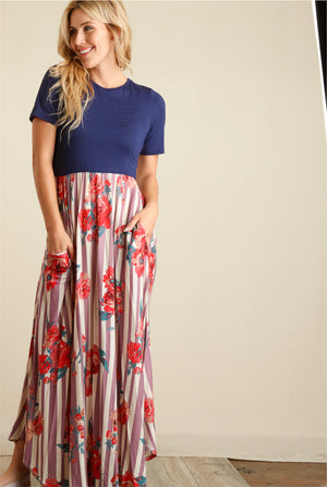Navy Colorblock Stripe Floral Maxi Dress