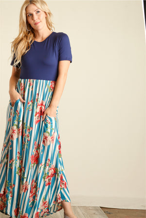 Navy Colorblock & Blue Stripe Floral Maxi Dress