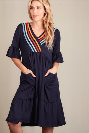 Navy Design Pocketed Dress