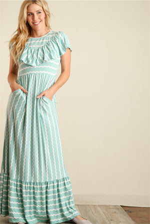 Mint & Ivory Stripe Maxi Dress