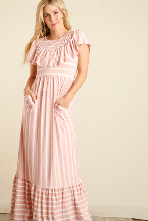 Pink & Ivory Stripe Maxi Dress