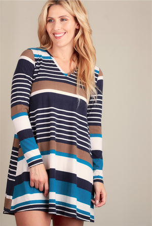 Multi Blue Stripe Dress