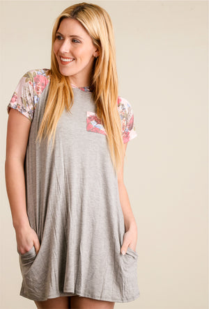 Grey & Blush Floral Raglan Hooded Dress