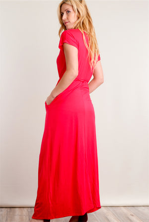 Dark Coral Panel Fit & Flare Maxi Dress
