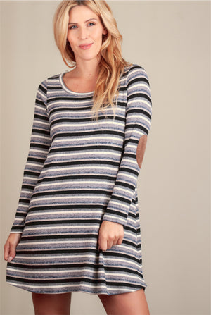 Stripe Elbow Patch Dress