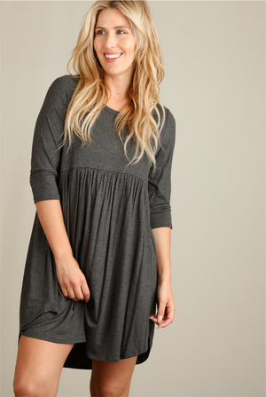 Charcoal Babydoll Dress