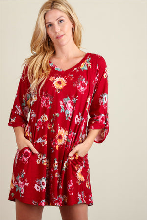 Burgundy Floral Pocketed Dress